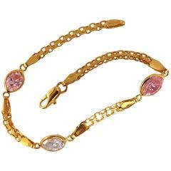 4.50 Carat Pink and White CZ Bracelet 14 Karat
