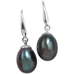 Black Freshwater Pearl Dangle Earrings 14 Karat
