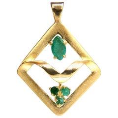 Botanist Select Natural Emeralds Pendant 14 Karat