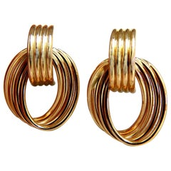 14 Karat 3d 1980s Deco Tubular Form Earrings Door Knocker Stiff Knot