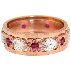 .50 Carat Natural Ruby Eternity Ring 14 Karat