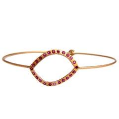.36 Carat Pink Sapphire Wire Bangle Bracelet Handmade