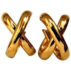 """14 Karat 3D Knot """"X"""" Earrings Lightweight"""