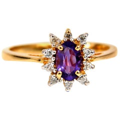 .82 Carat Natural Amethyst Diamonds Ring 14 Karat