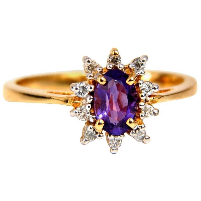 .82 Carat Natural Amethyst Diamonds Ring 14 Karat