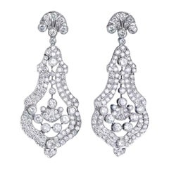 Diamond and Platinum Earrings Ear Pendants