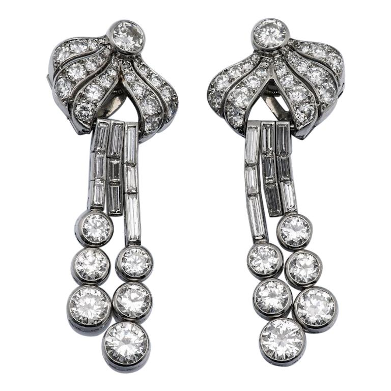 French Art Deco Diamond and Platinum Earrings Ear Pendants