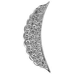 1960s Diamond Platinum Half-Moon Pendant
