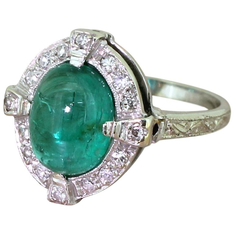 Midcentury 2.70 Carat Cabochon Emerald and Diamond Cluster Ring