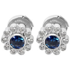 Tiffany & Co. Vintage Sapphire and Diamond Flower Earrings