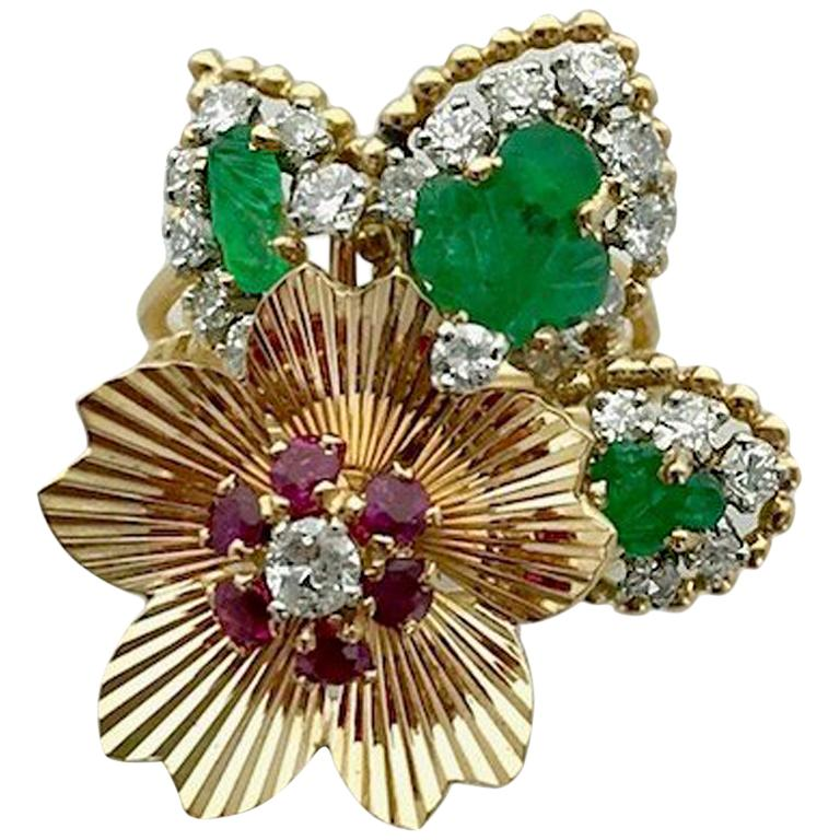 1950s Diamond Ruby Emerald Gold Flower Ring