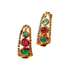1960s French Emerald Ruby Sapphire Yellow Gold Earrings