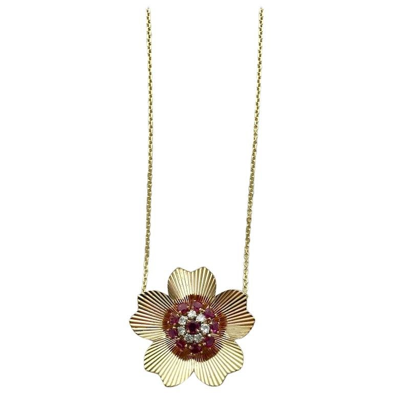 1950s Retro Diamond Ruby Yellow Gold Pendant Chain Necklace