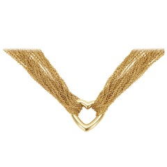 Tiffany & Co. Heart Pendant Mesh Chain Necklace in 18 Karat Yellow Gold