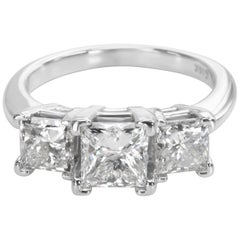 Three Stone Princess Cut Diamond Engagement Ring in 14K White Gold  (2.50 CTW)