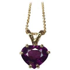 Neon Purple 1.44 Carat Rhodolite Malawi Garnet Heart Cut Solitaire Gold Pendant