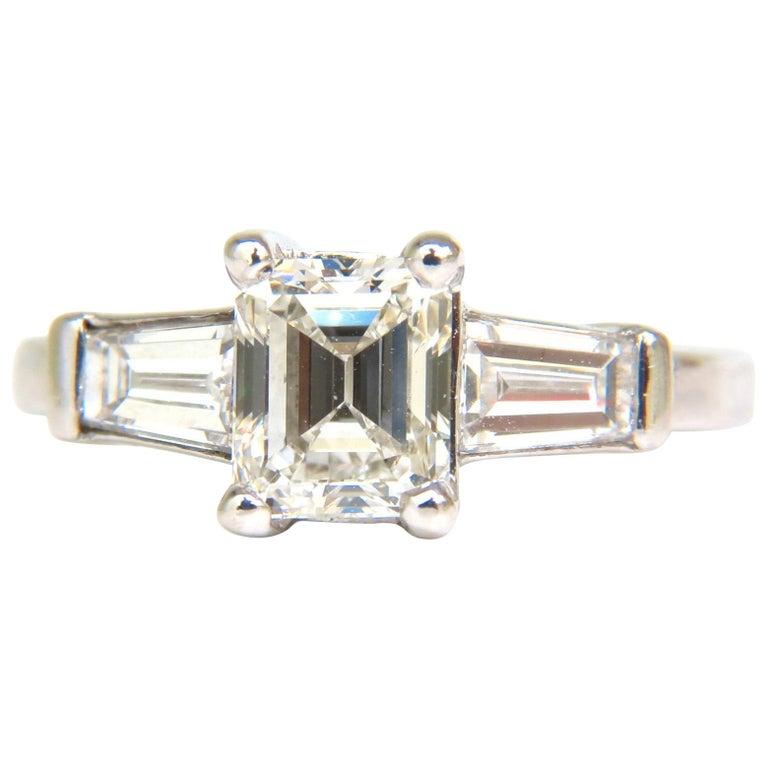 GIA 1.56 Carat Brilliant Emerald Cut Diamond Ring J/VVS2 Solitaire W Accents