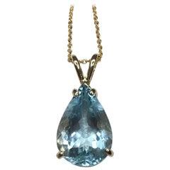Bright Blue 4.19ct Aquamarine Pear Teardrop Cut Solitaire 14k Gold Pendant