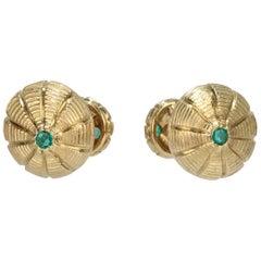 Tiffany & Co. 18 Karat Gold and Emeralds Taj Mahal Cufflinks, Jean Schlumberger