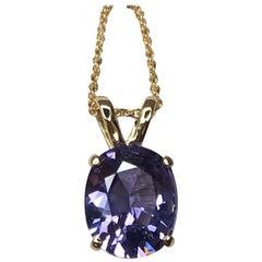 Vivid Purple Blue 2.08ct Spinel Fancy Oval Cut 14k Yellow Gold Pendant Necklace