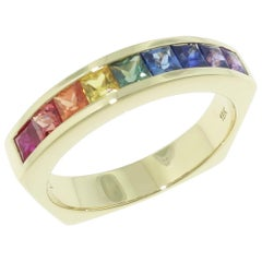 1.19 Carat Multi-Color Princess Cut Sapphire Gold Eternity Band Ring