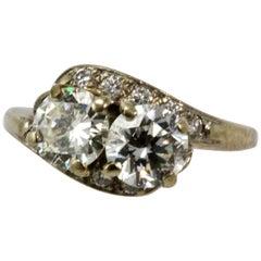 Art Deco 14 Carat White Gold Moi Et Toi Diamond 2 Carat Engagement Ring