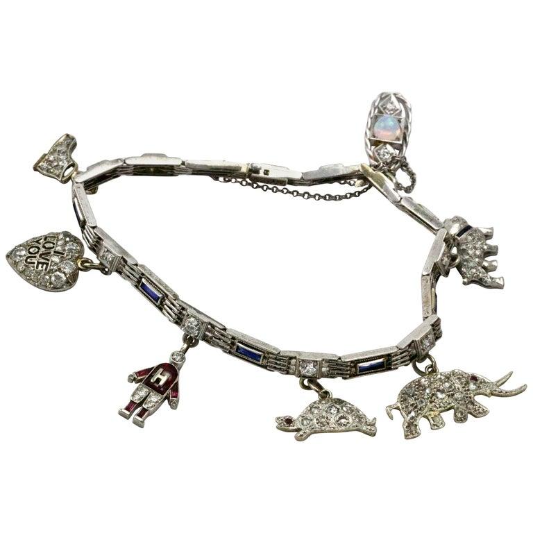 Art Deco Platinum Diamond Ruby Sapphire Opal Charm Bracelet