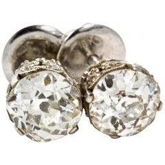2 Carat Platinum Art Deco OEC Diamond Stud Screw Back Earrings