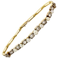 Edwardian 18 Carat Yellow Gold and Platinum Pearl and Diamond Bracelet