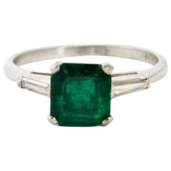 Art Deco Platinum Emerald and Diamond Engagement Ring
