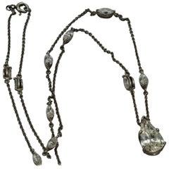 Platinum Pear Drop Diamond Necklace