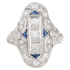 Art Deco with Diamonds and Sapphires Platinum Ring