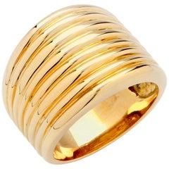 Italian Ridge Motif 18 Karat Yellow Gold Ring