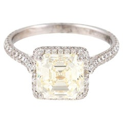 3.02 Carat Asscher Cut Light Yellow VVS Diamond Ring