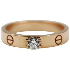 Cartier Love Solitaire Pink Gold Diamond Ring