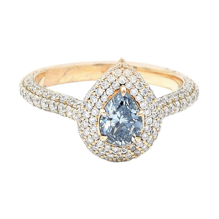 GIA Certified 0.58 Carat Pear Shape Blue Diamond Ring For Sale