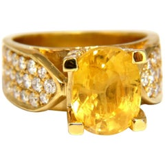 7.06 Carat Natural Yellow Sapphire Ring 18 Karat Raised Bead Set