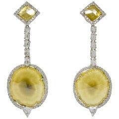 18.09 Carat Natural Yellow Slice Diamond and White Diamond Earrings