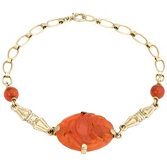 Antique Deco Carved Carnelian Bracelet Vintage 14 Karat Gold Estate Jewelry