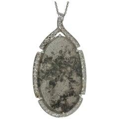 4.86 Carat Natural Gray Slice Diamond and White Diamond Necklace