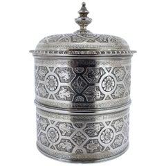 Ornate Sarmento Portuguese Solid Silver Covered Dresser Box or Humidifier