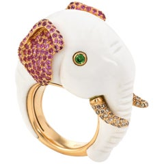 Elephant Cocktail Ring Estate 18 Karat Rose Gold Diamond Ruby Animal Jewelry