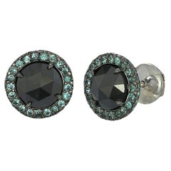 Gray Diamond and Paraiba Tourmaline Halo Stud Earrings