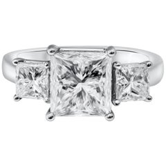 3.14 Carat Princess Cut Diamond Three-Stone Engagement Ring