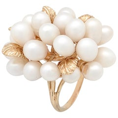 14 Karat Yellow Gold Cluster Pearl and Gold Leaf Estate Ring