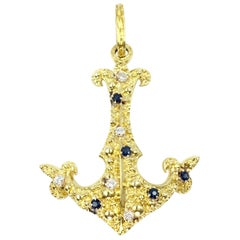 18 Karat Large Vintage Anchor Pendant with Diamonds and Sapphires