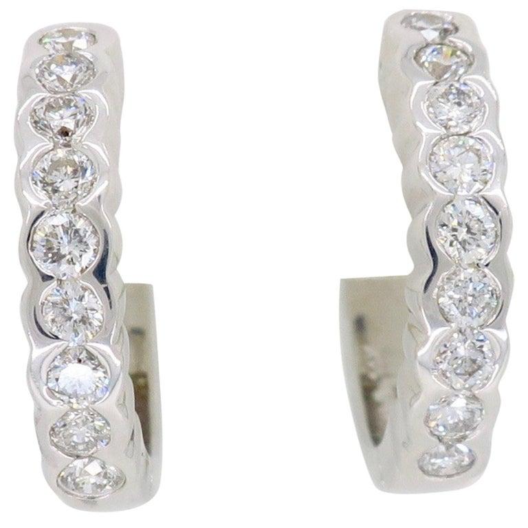 Diamond Huggie Style Hoop Earrings