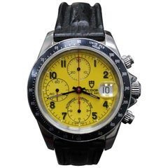 Rolex Tudor 79260 Steel Prince Tiger Woods Chronograph Yellow Dial with Papers