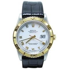 Rolex Datejust Turnograph Thunderbird 16263 White Dial 18 Karat Gold and Steel