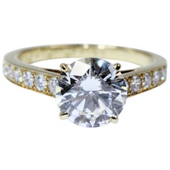 Cartier 1895 Solitaire Ring 18 Karat Yellow Gold Diamonds, 2.02 Carat, VS1, D